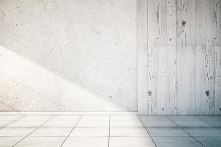 Photo pour White, partially concrete and wooden empty wall interior with tile floor. Mock up, 3D Render - image libre de droit