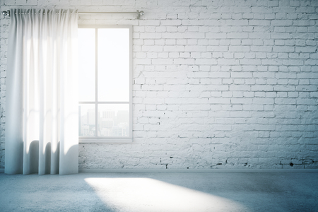 Blank brick wall in white loft design room with window, curtain and concrete floor. Mock up, 3D Render
