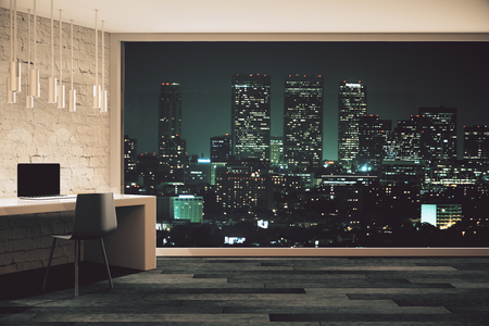 Photo pour Loft studio design with panoramic window and night city view. 3D Render - image libre de droit