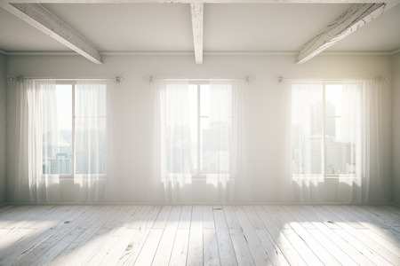 Photo pour White room loft interior design with three windows, wooden floor, curtains and city view. 3D Render - image libre de droit