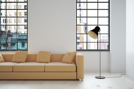 Foto de Interior design with beige sofa, blank wall, lamp and windows with city view. Mock up, 3D Render - Imagen libre de derechos