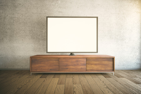 Dark wooden TV cabinet with blank white TV in room interior. Mock up, 3D Render