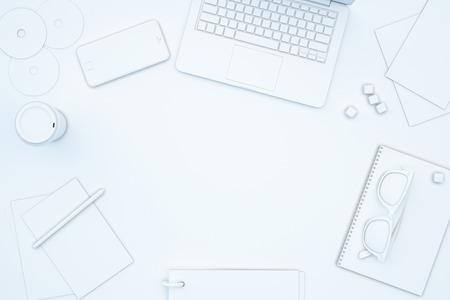 Blank spot on white table full of office tools. Mock up, 3D Rendering