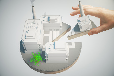 Shareholder concept with male hand taking piece of business pie. 3D Rendering
