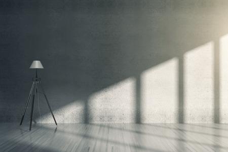 Concrete room interior with floor lamp. 3D Rendering