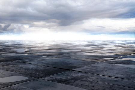 Foto de wet concrete floor and cloud on sky, 3D Rendering - Imagen libre de derechos