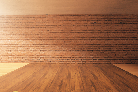 Empty interior design with wooden floor, red brick wall and concrete ceiling. Mock up, 3D Rendering
