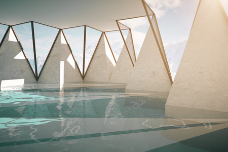 Abstract interior with water, concrete walls and triangular windows with snowy landscape view. 3D Renderingの写真素材