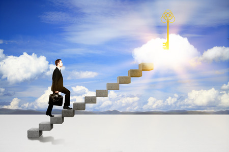 Photo for Success concept with businessman climbing ladder to abstract illuminated key on cloud. Sky background - Royalty Free Image