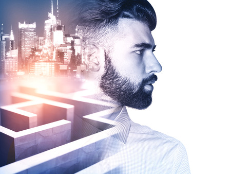 Photo pour Side view of young man on side turned city and maze background with abstract sunlight. Business obstacle concept. Double exposure - image libre de droit