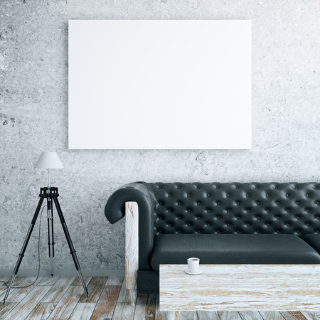 Photo pour Front view of interior with blank billboard, leather couch, floor lamp and wooden coffee table. Mock up, 3D Rendering - image libre de droit