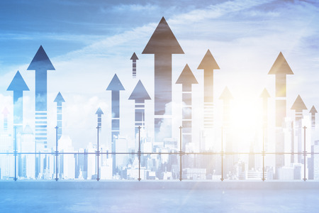 Photo for Rooftop with upward arrows on city background. Double exposure. Success concept - Royalty Free Image