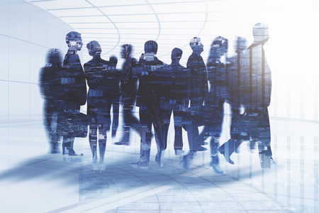 Photo pour Abstract businessmen silhouettes in spacious office interior on city background. Work concept. Double exposure - image libre de droit