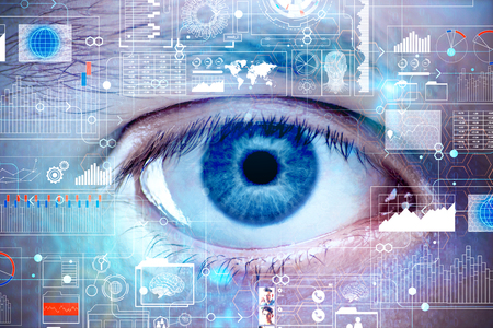Photo pour Close up of blue eye with abstract digital interface. Biometrics and access concept. Double exposure  - image libre de droit