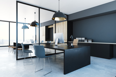 Photo pour Dark office interior with equipment and city view. 3D Rendering  - image libre de droit