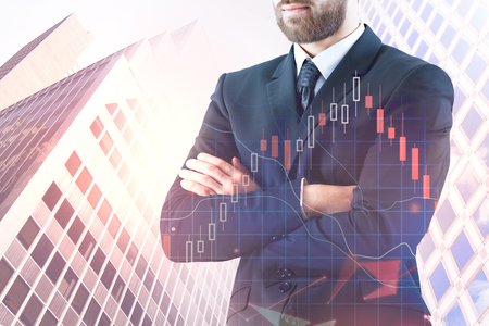 Banking and statistics concept. Businessman standing on abstract background with forex chart. Double exposure