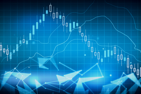 Creative glowing forex chart wallpaper. Trade and stock concept. 3D Rendering