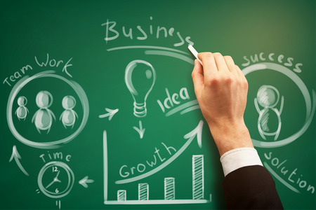 Businessman hand drawing business sketch on chalkboard. Success and growth concept