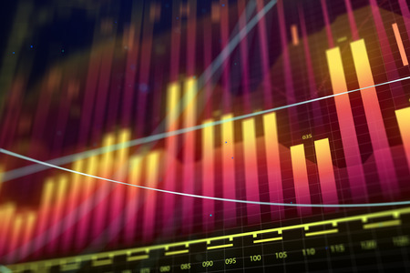Creative glowing forex chart background. Market growth, finance and fund management concept. 3D Rendering