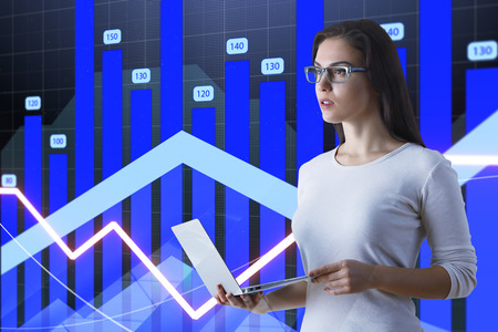 Businesswoman with glasses and laptop making presentatiton at financial chart background. 3D render