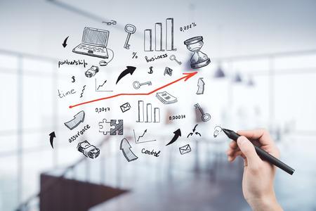 Photo pour Double exposure of Business sketch concept - image libre de droit