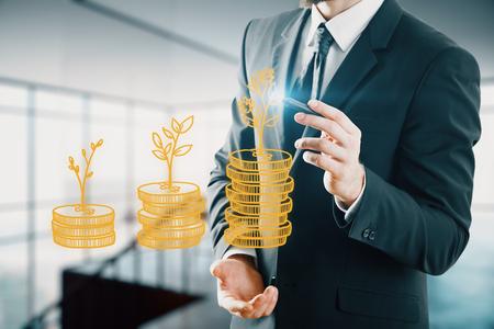 Foto de Double exposure with growth coins columns and man hand. Concept of success savings and capital. - Imagen libre de derechos