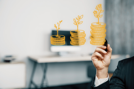 Photo pour Double exposure with growth coins columns and man hand. Concept of success savings and capital. - image libre de droit