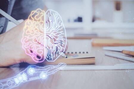 Photo pour Brain multi exposure icon with man hands background. - image libre de droit