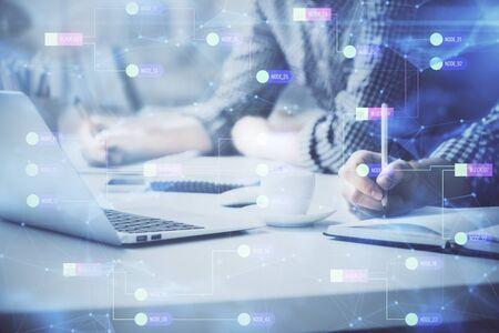 Photo pour Businessman with computer background with technology theme hologram. Concept of hightech. Multi exposure. - image libre de droit