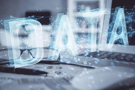 Photo pour Data tech hologram with glasses on the table background. Concept of technology. Double exposure. - image libre de droit