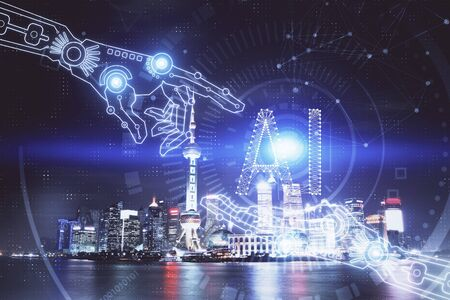Photo for Data theme hologram drawing on city view with skyscrapers background multi exposure. Ai concept. - Royalty Free Image