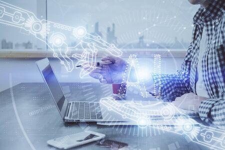 Photo pour Businessman working on Laptop with technology theme drawing. Concept of big data. Double exposure. - image libre de droit