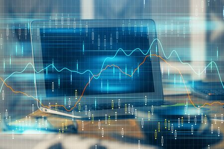 Photo pour Financial chart drawing and table with computer on background. Double exposure. Concept of international markets. - image libre de droit