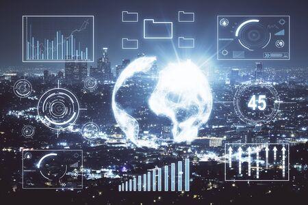 Foto de Financial graph on night city scape with tall buildings background multi exposure. Analysis concept. - Imagen libre de derechos