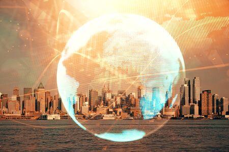 Photo pour Double exposure of business theme hologram drawing and city veiw background. Concept of success. - image libre de droit