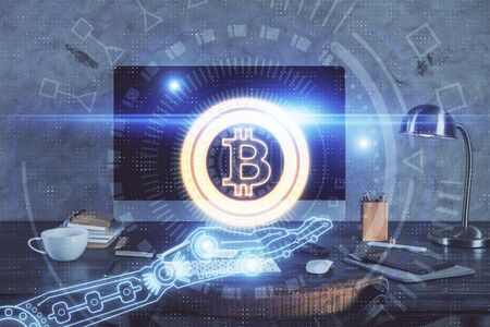 Photo pour Double exposure of blockchain and crypto economy theme hologram and table with computer background. Concept of bitcoin cryptocurrency. - image libre de droit