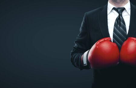Photo pour Businessman in red boxing gloves isolated on gray background. Business challenge concept - image libre de droit