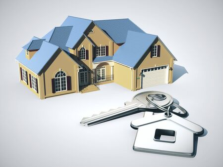 Photo pour Model house and key with key chain. Real estate and home concept. 3D Rendering - image libre de droit