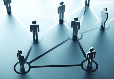 Photo pour Group of people talking in social network. Business communication concept. 3D Rendering - image libre de droit
