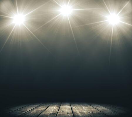 Photo pour Stage with smoke and spot lights. Presentation concept. 3D Rendering - image libre de droit