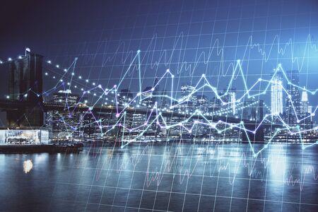 Photo pour Financial chart on city scape with tall buildings background multi exposure. Analysis concept. - image libre de droit