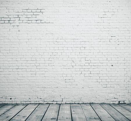 Foto de Blank brick wall and wooden floor in empty room. Presentation concept. Mock up, 3D Rendering - Imagen libre de derechos