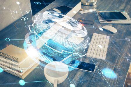 Foto de Technology theme drawing and table with computer. Double exposure. Concept of information. - Imagen libre de derechos