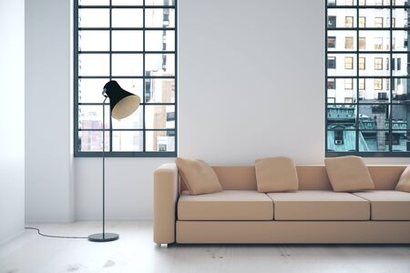 Photo pour Interior with beige sofa, blank wall, lamp and windows with city view. Mock up, 3D Render - image libre de droit