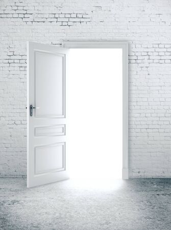Photo for Open door in white brick wall. Way to success concept. 3D Rendering - Royalty Free Image