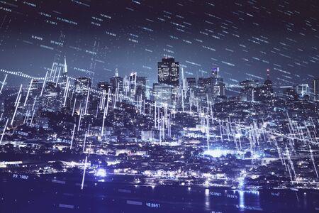 Photo pour Financial graph on night city scape with tall buildings background double exposure. Analysis concept. - image libre de droit