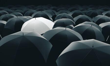 Photo pour White umbrella in mass of black umbrellas. 3D Rendering - image libre de droit