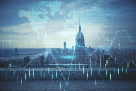Photo pour Forex graph on city view with skyscrapers background multi exposure. Financial analysis concept. - image libre de droit