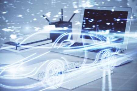 Photo pour Desktop computer background in office with automobile hologram drawing. Multi exposure. Tech concept. - image libre de droit