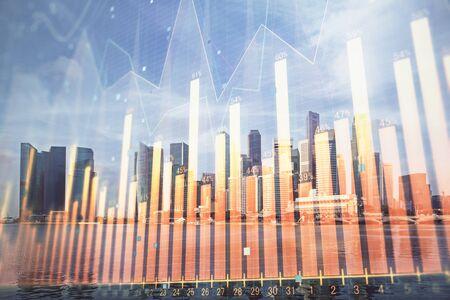 Photo pour Forex chart on cityscape with tall buildings background multi exposure. Financial research concept. - image libre de droit